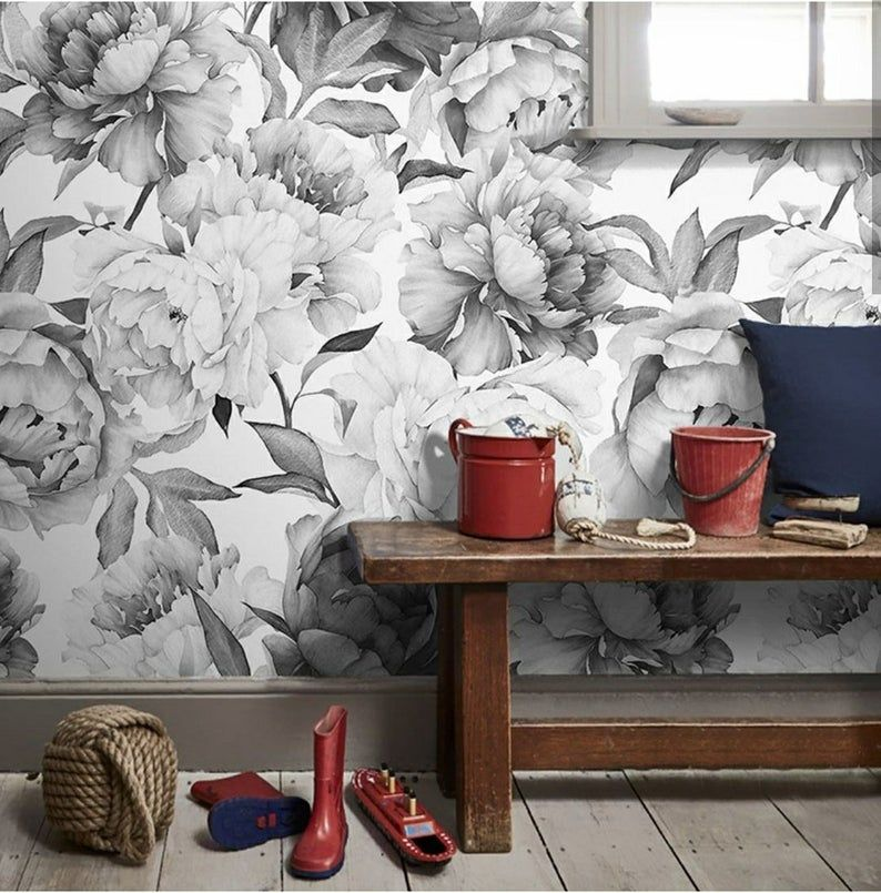 Peony peel and stick Floral gray wallpaper Peonies Wall ...