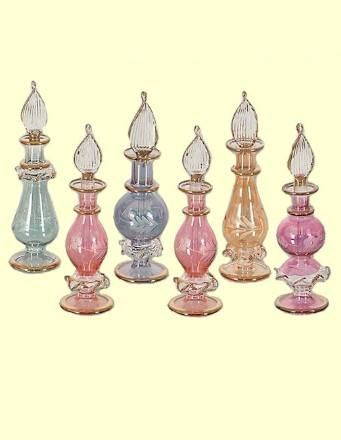 Handcrafted Egyptian Glass Perfume Bottles with 24K Gold Trim - How special it would be to send your wedding invitations in these! / http://roses-and-teacups.com/favors-tea-party.php#