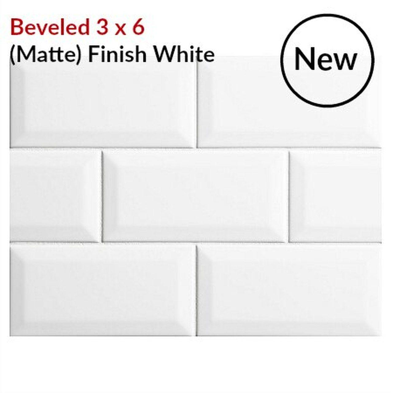 Metro Subway Beveled Tile 3 X 6 Matte Finish White Ceramic Wall Tile 3 59 Per Square Foot In 2020 Beveled Subway Tile White Subway Tile Kitchen White Subway Tiles Kitchen Backsplash
