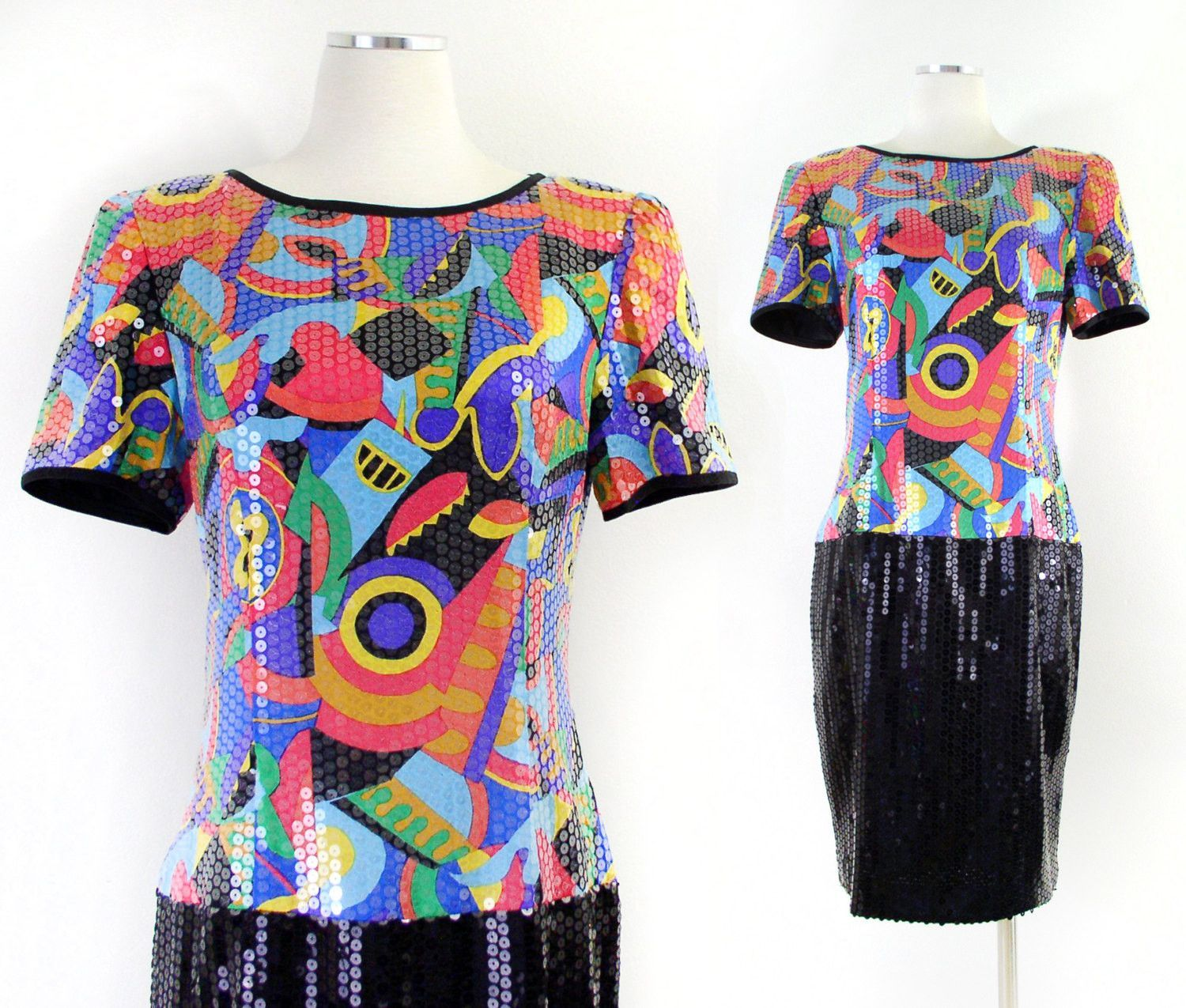 Vintage s abstract print silk sequined womenus dress colorful