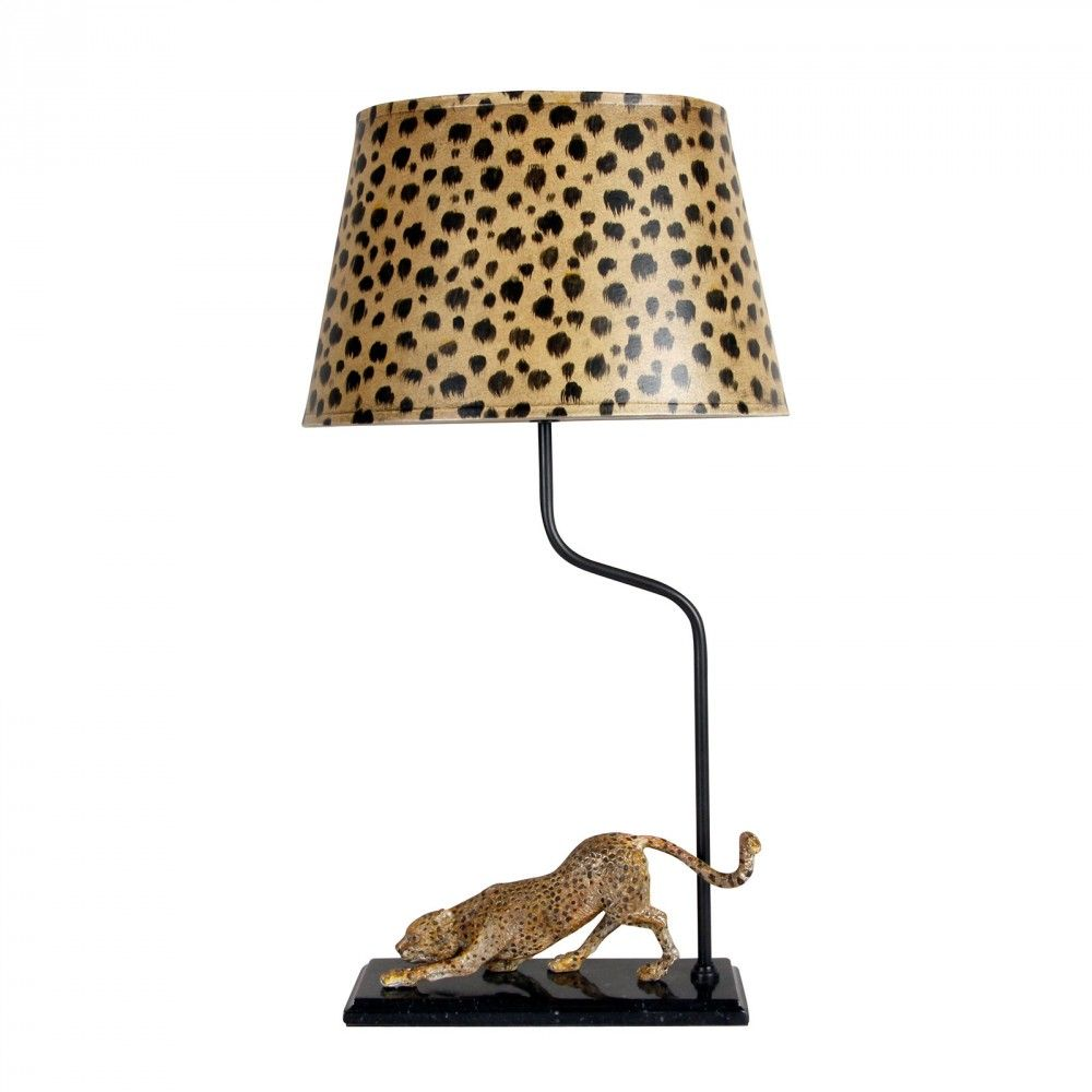 Lot Art | Ornate Cheetah Table Lamp
