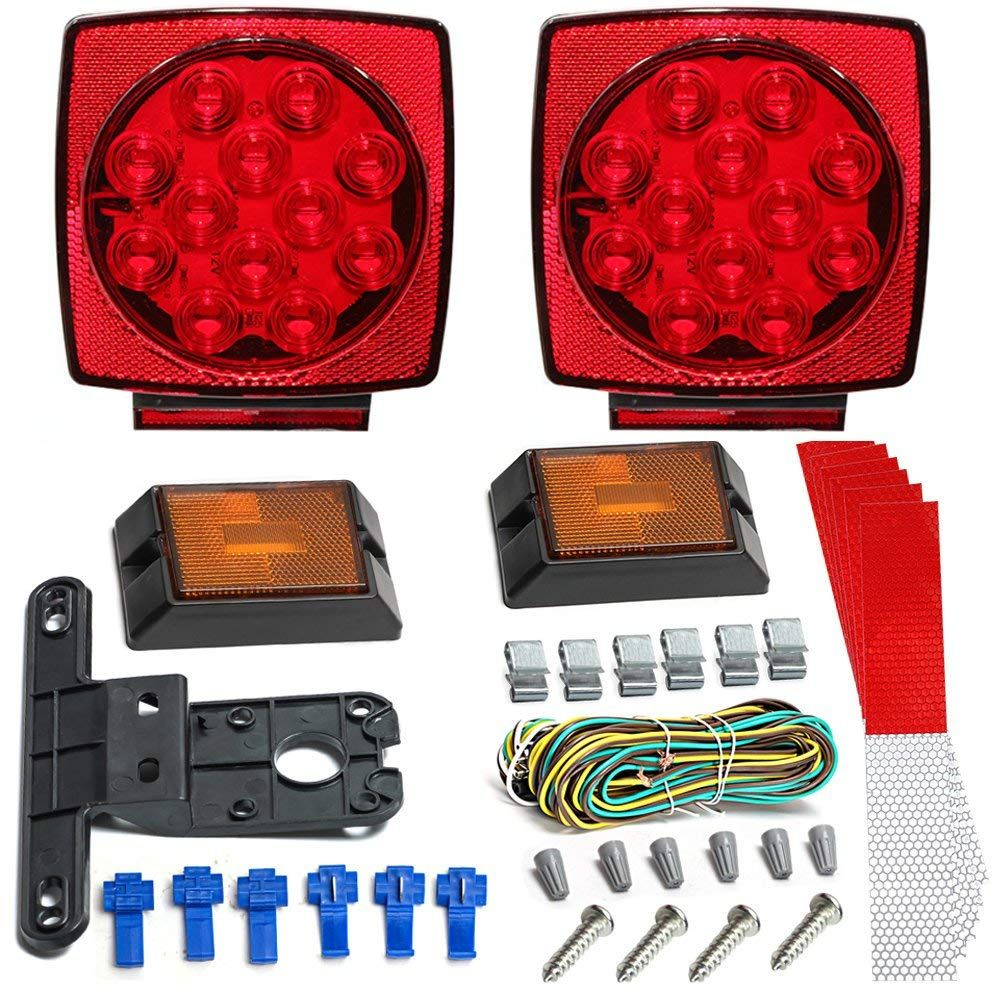 led trailer light kit rose car 12v trailer tail light kit universal waterproof easy assembly [ 1001 x 1001 Pixel ]