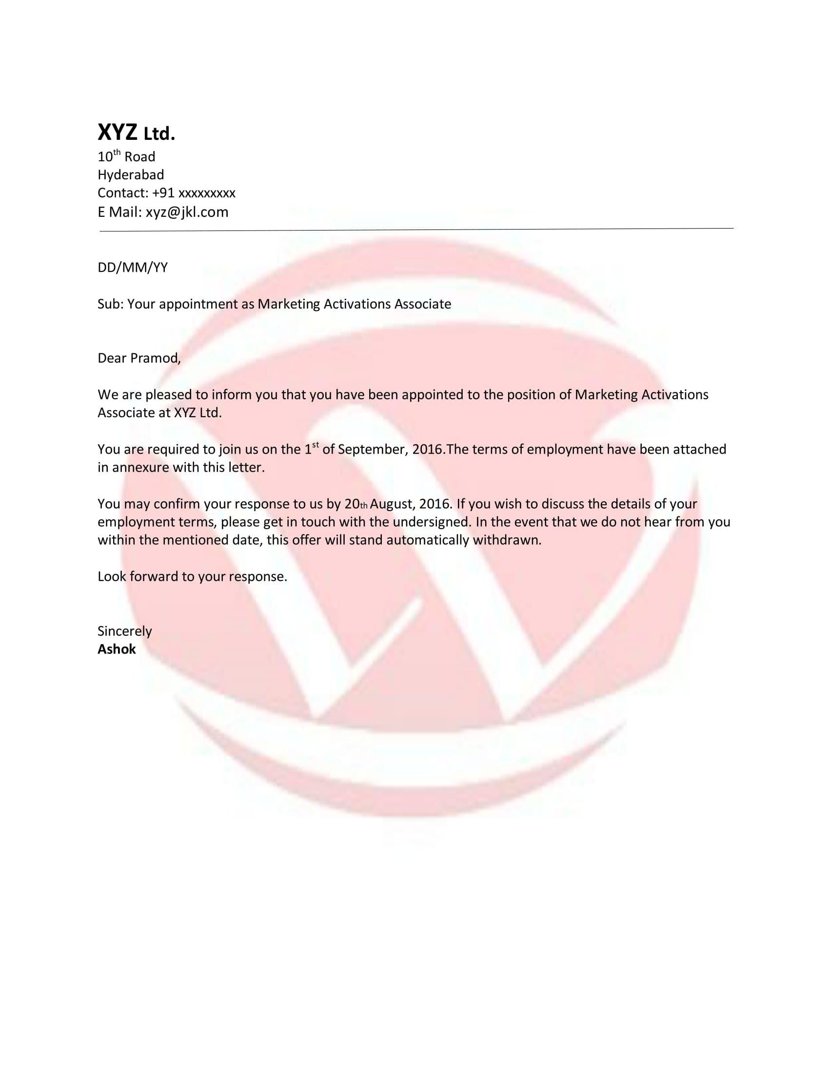 appointment letter format bangla joinning letter fotmat