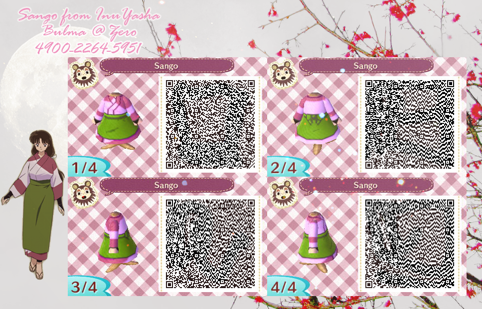 Sango From Inuyasha Qr Code For Animal Crossing New Leaf Inuyasha Sango Animalcrossing Newleaf Acnl