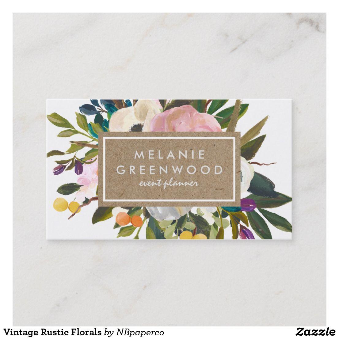 Vintage rustic florals business card business cards pinterest vintage rustic florals business card wajeb Images