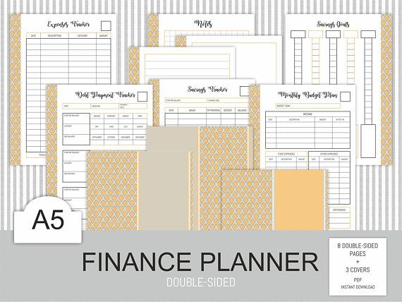 Finance Planner A5 Printable Budget Debt Bill Payment Log Savings Tracker Saving Goal Small Business Instant Download PDF