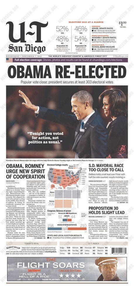 Newspaper Front Pages Cover Obamau0027s Re-Election Barack Obama - barack obama resume
