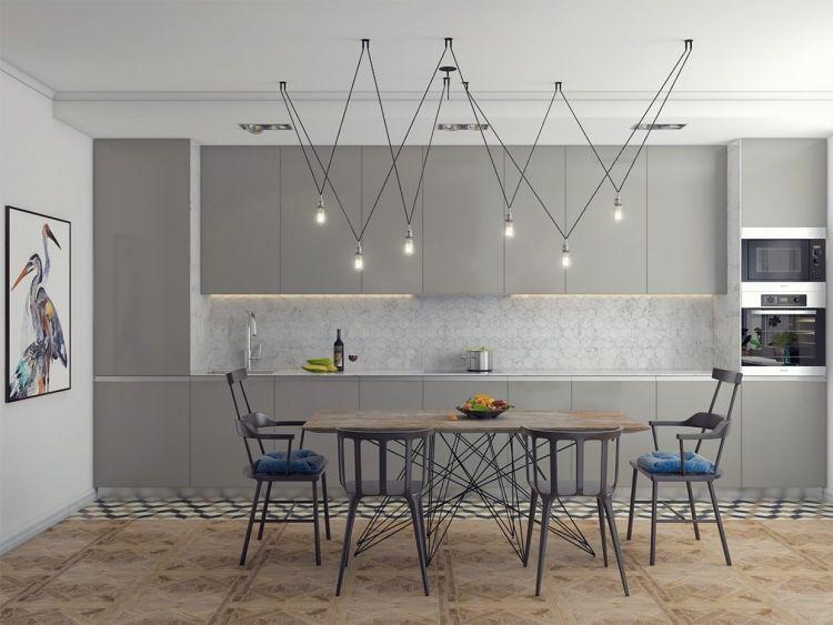 couleur gris taupe, cuisine taupe, table à manger en bois massif et ...