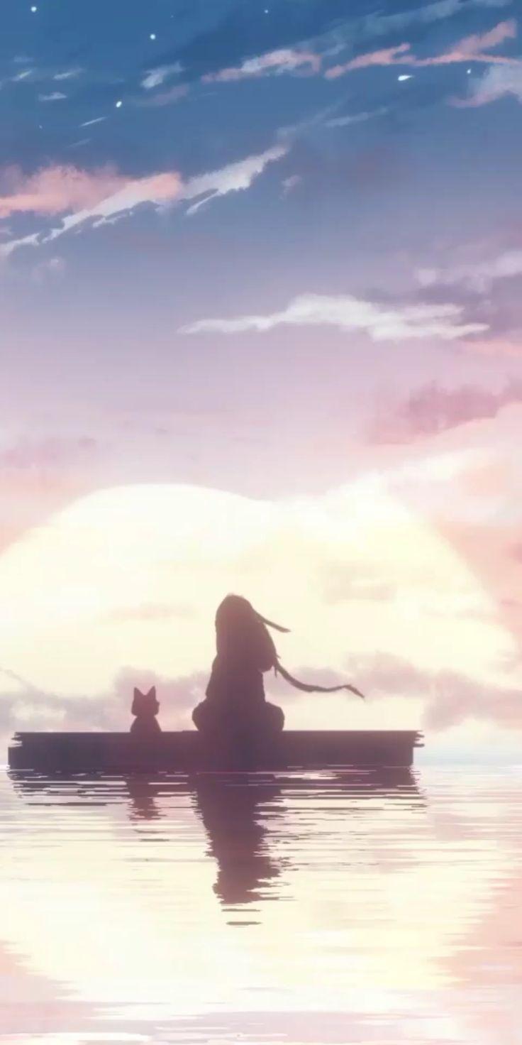 Hình nền động Anime ngắm hoàng hôn