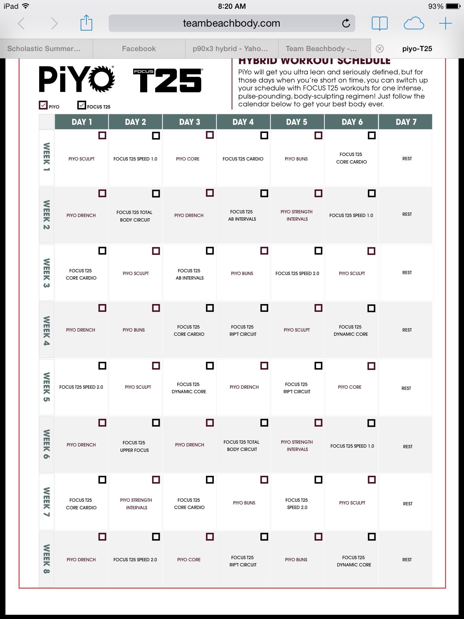 t25 schedule | to insanity and back | pinterest | workout