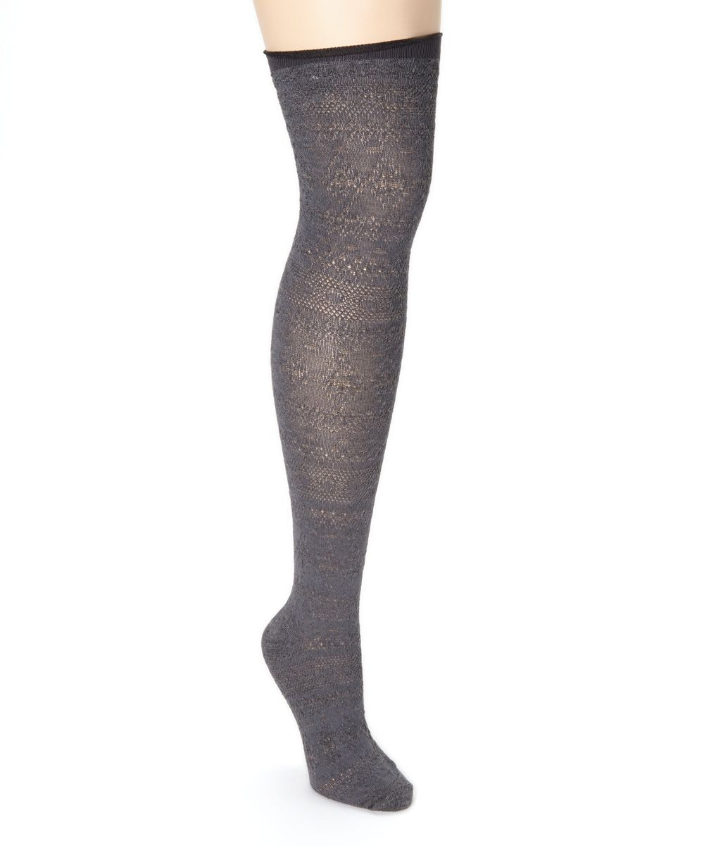Gray Pointelle Over-the-Knee Socks | zulily
