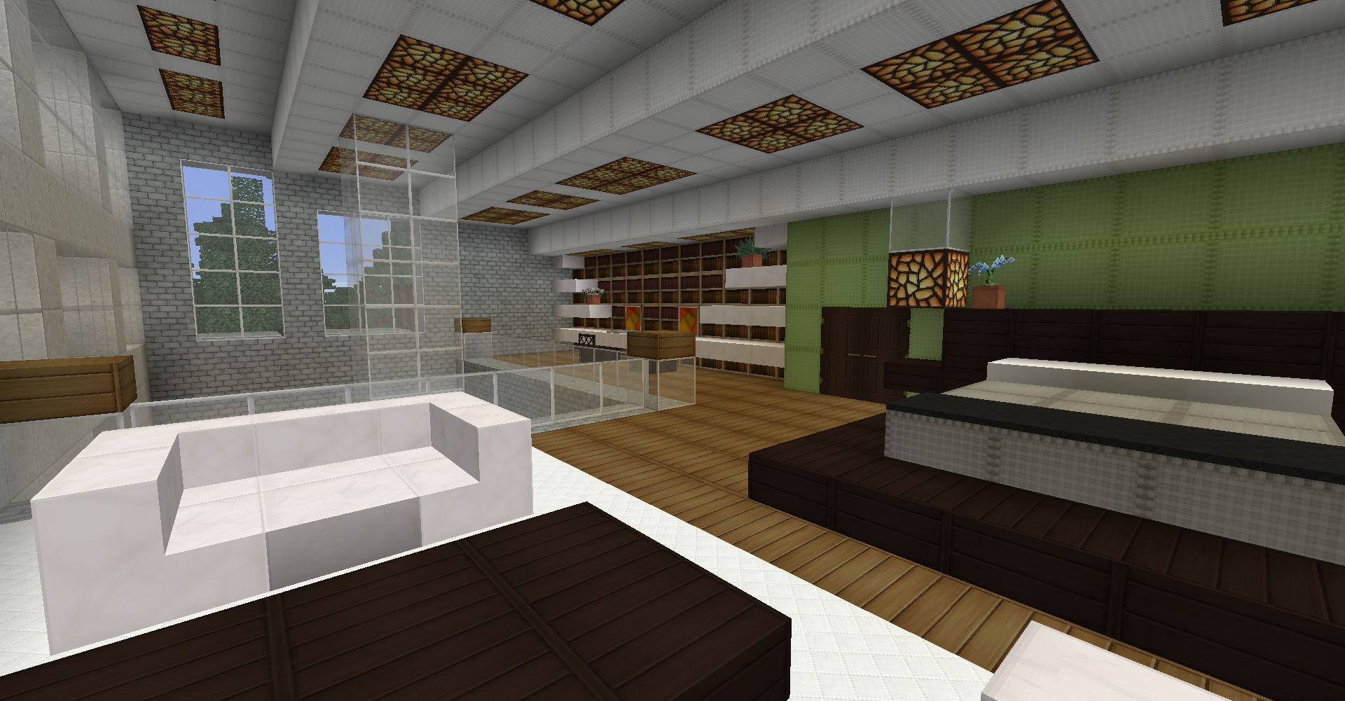 minecraft survival, mordern house, interior, loft master ...