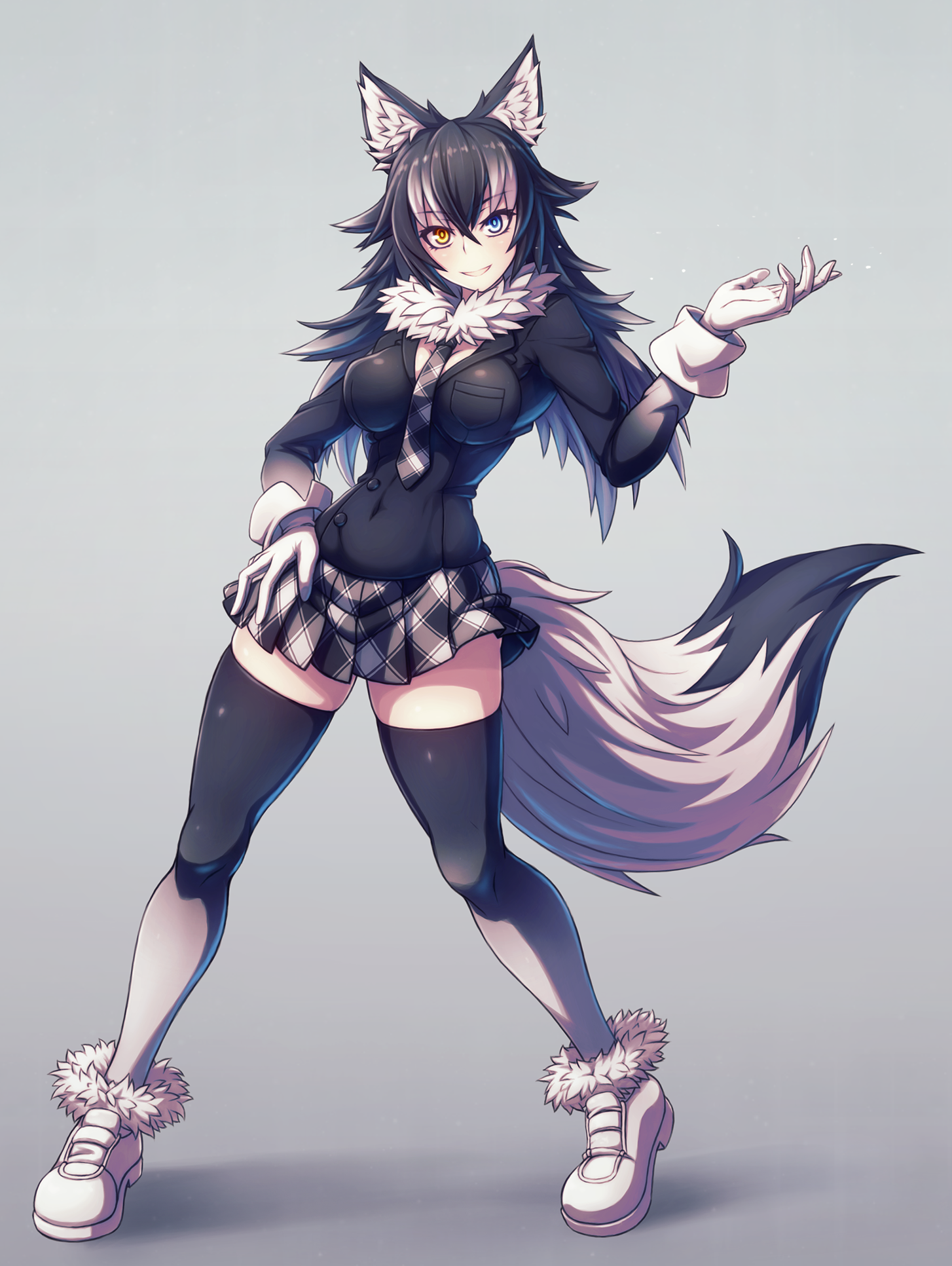 Kemono friends kemonomimi anime girl animal girl wolf girl