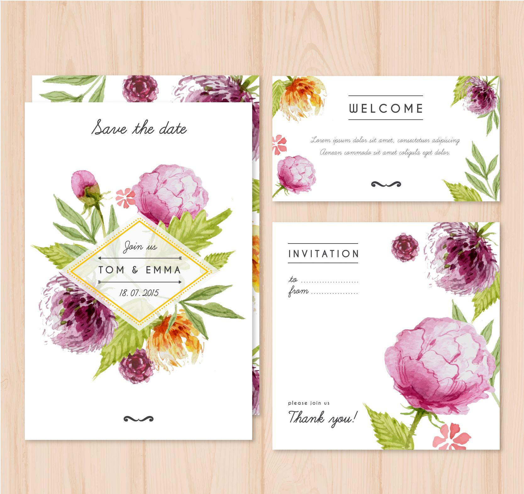 Beautiful peony theme. Wording and sizes is fully customizable ...
