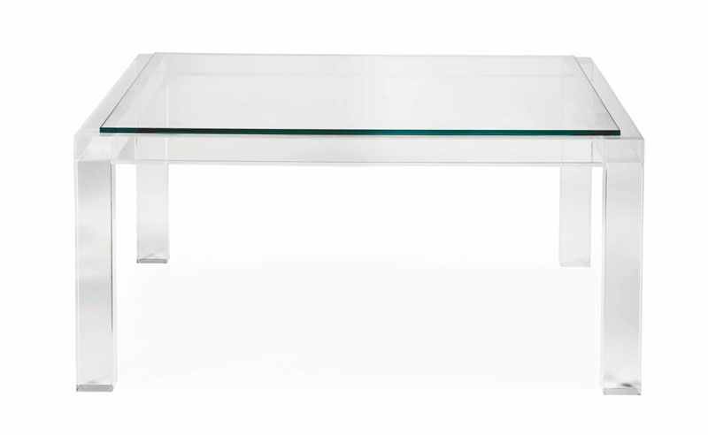 Bernhardt Square Acrylic Cocktail Table Coffee Table Square