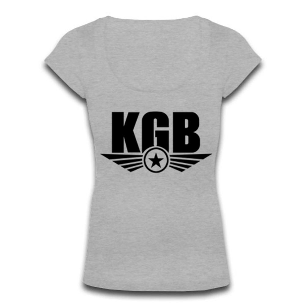 Woemns Scoop Neck A0083 CCCP KGB T-shirt