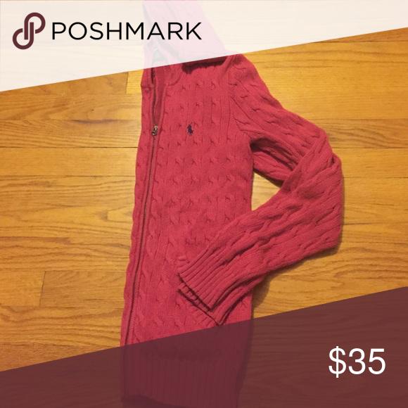 Ralph Lauren Sport Pink Cable Knit Zip-Up Hoodie Very warm Lauren Ralph Lauren Sweaters