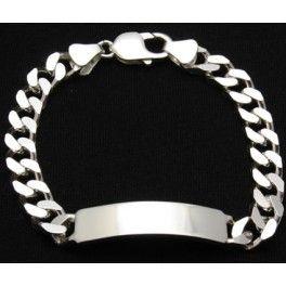 eb1c890412a0 Esclava de plata 925 para hombre con eslabón barbado cuadrado y ...