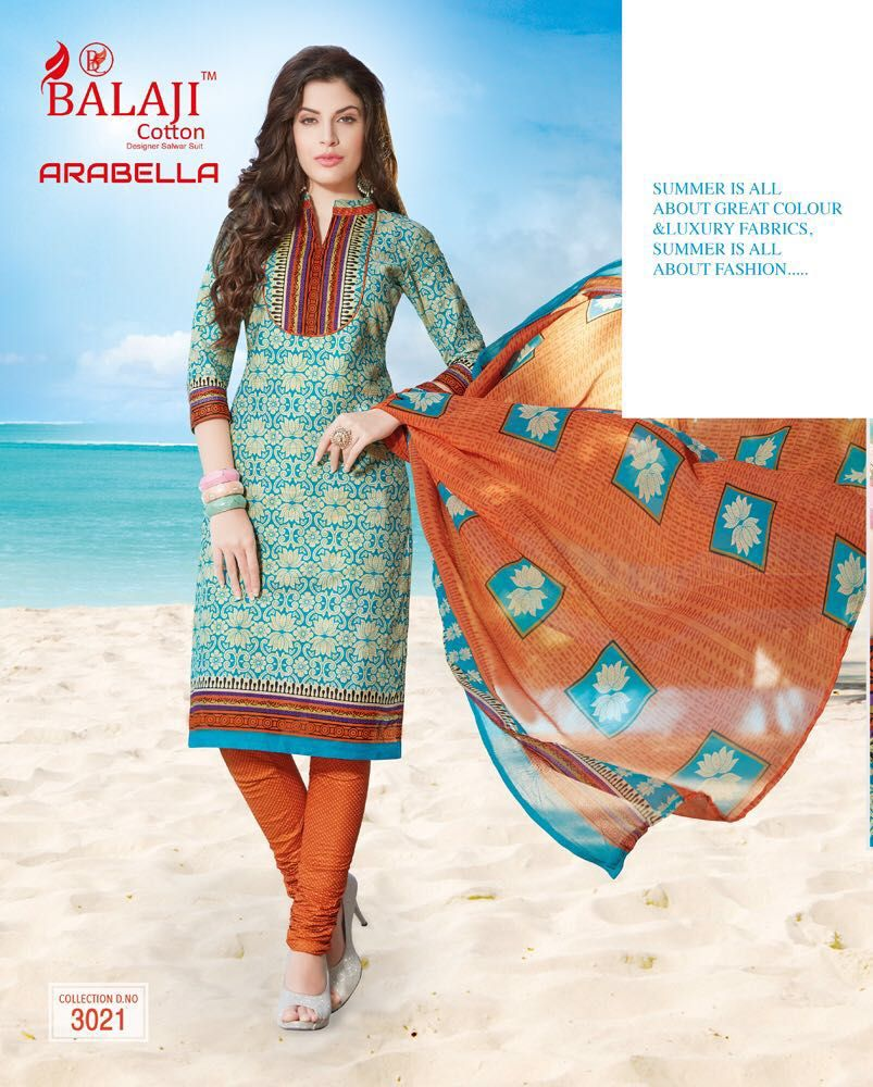 97ab995cba Balaji arabella vol-7 Cotton with chiffon dupatta ( 20 pc Catalog ...
