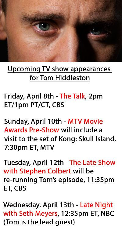 Upcoming TV show appearances for Tom. Thank to insanely-smart.tumblr: http://insanely-smart.tumblr.com/post/142404422378/upcoming-tv-show-appearances-for-tom