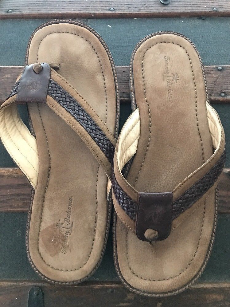 9d98f12d4 Mens Tommy Bahama Leather Sandals Flip Flop Thong US Size 14 Brown   TommyBahama  FlipFlops