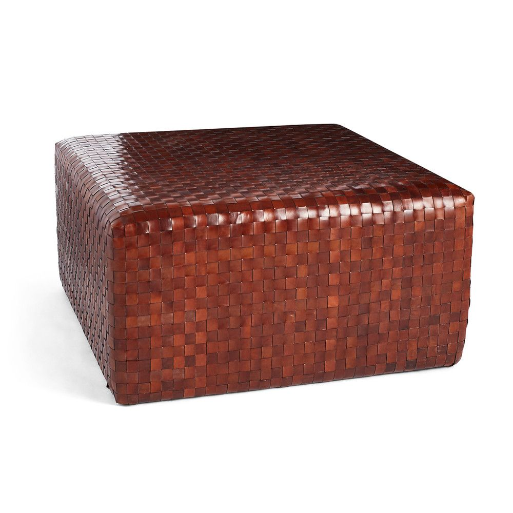 Woven Leather Ottoman Wisteria Leather Ottoman Leather Coffee