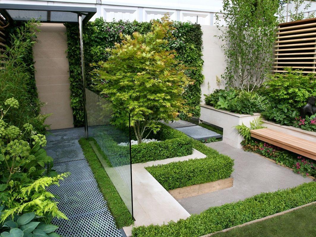 Modern Garden Design Around A House Google Search Small Courtyard Gardens Contemporary Garden Design Small Backyard Garden Design