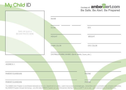 kids id cards child identification card