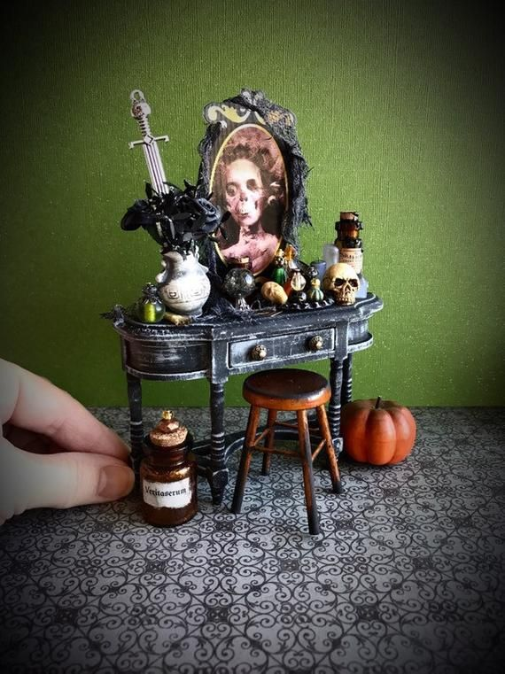 Miniature Halloween Vanity, haunted dollhouse furniture, artisan miniatures