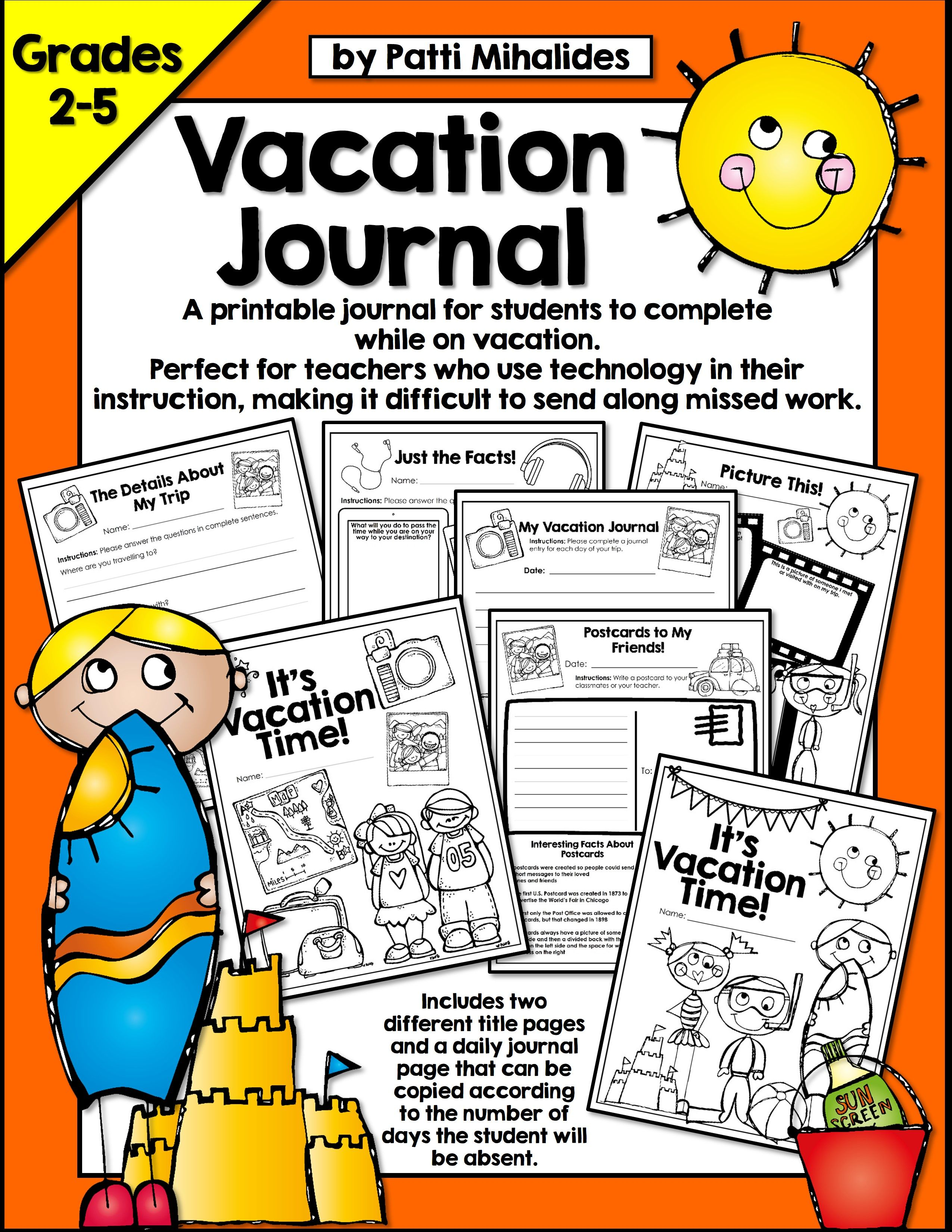 Vacation Journal A Trip Package For Students In Gr 2 5
