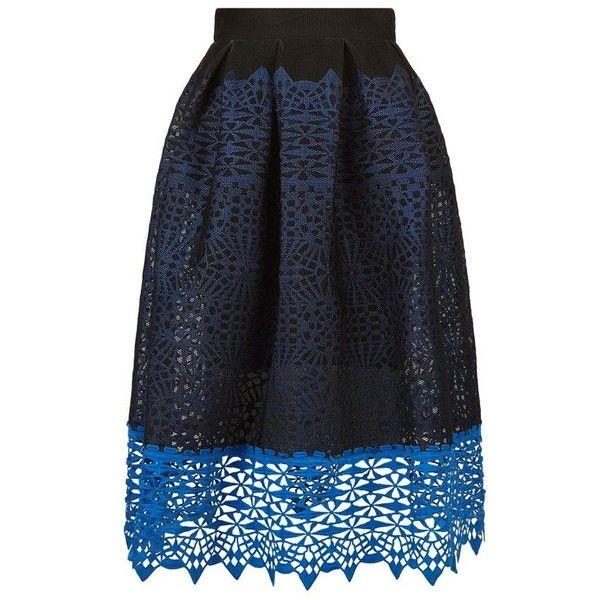 Maje Journee Knit Guipure Skirt (485 BRL) ❤ liked on Polyvore featuring skirts, knit midi skirt, maje skirt, honey comb, mid calf skirts and box pleat skirt