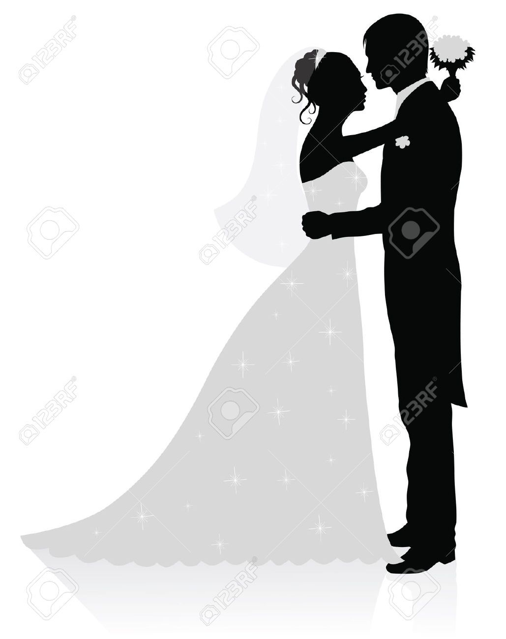 Bride And Groom Silhouette Black White