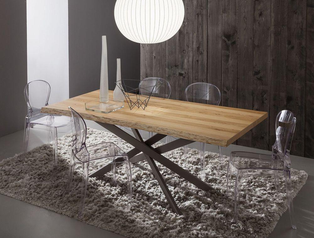Tavolo Legno Rovere Naturale.Dettagli Su Tavolo Renzo Fisso 170x100 Piano In Legno Scortecciato