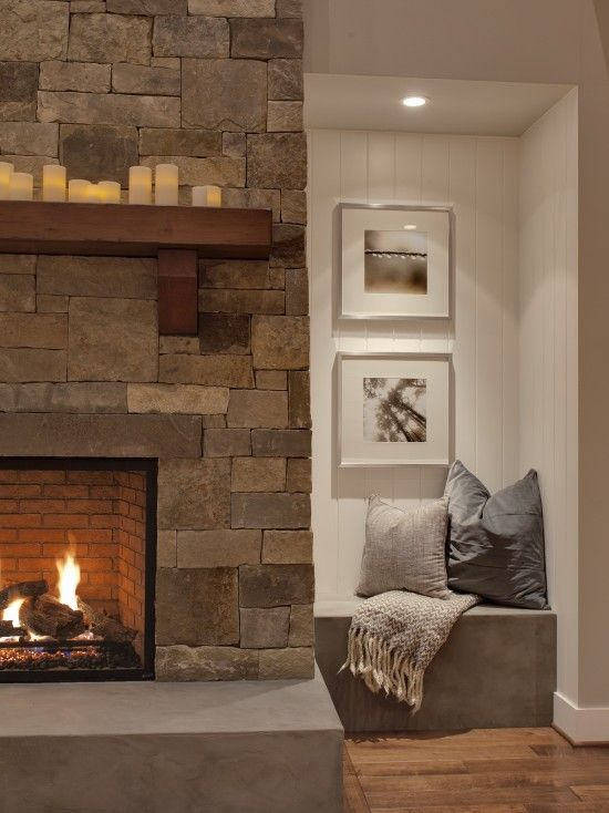 Eventual Fireplace Redo Built In Wrap Around Concrete Bench Under Curved Windows Contemporary Family Rooms Rustic Living Room Design Home