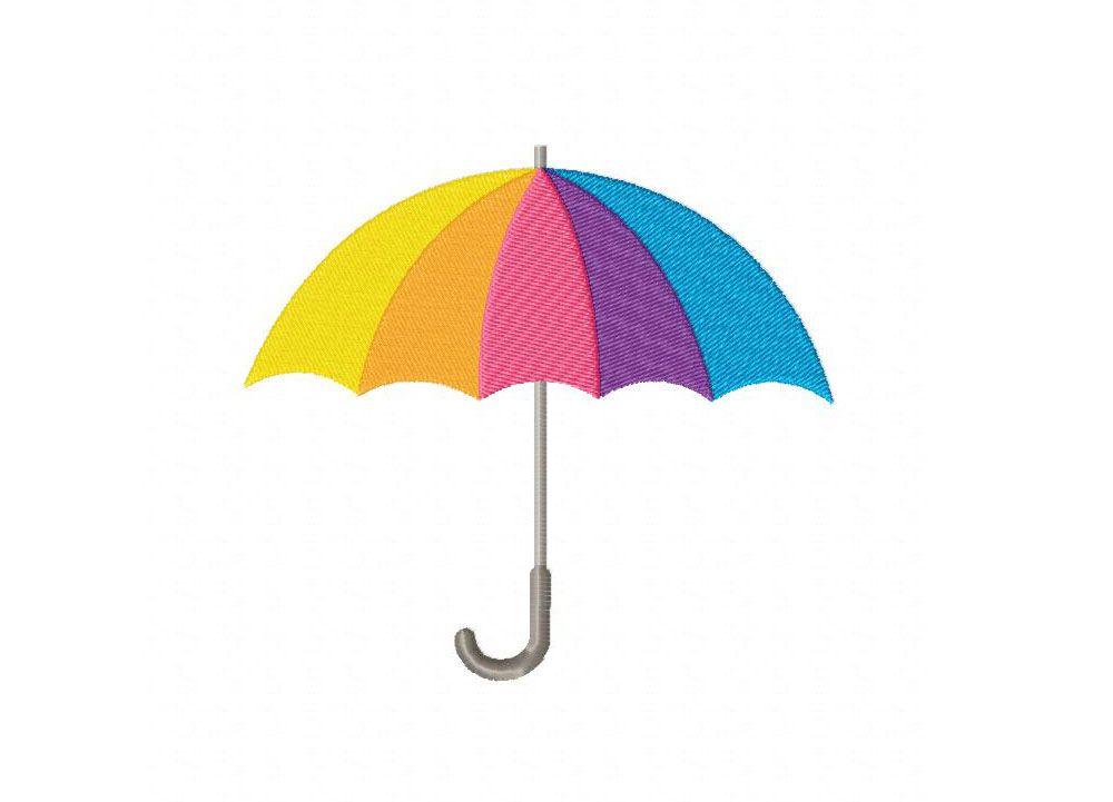 Rainbow umbrella machine embroidery design appliques i