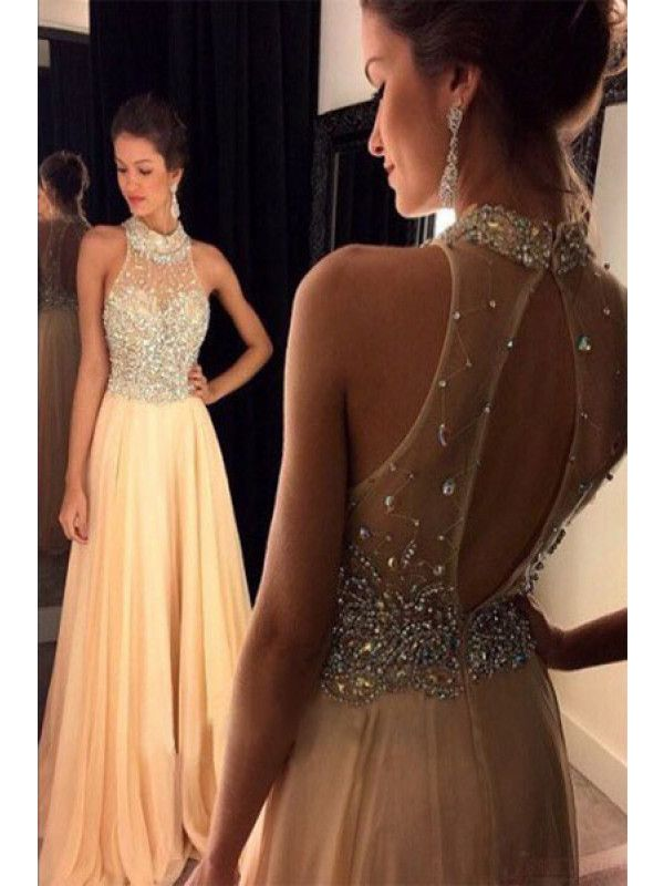 New Arrival A-Line Scoop Sleeveless Chiffon Champagne Prom Dresses ...