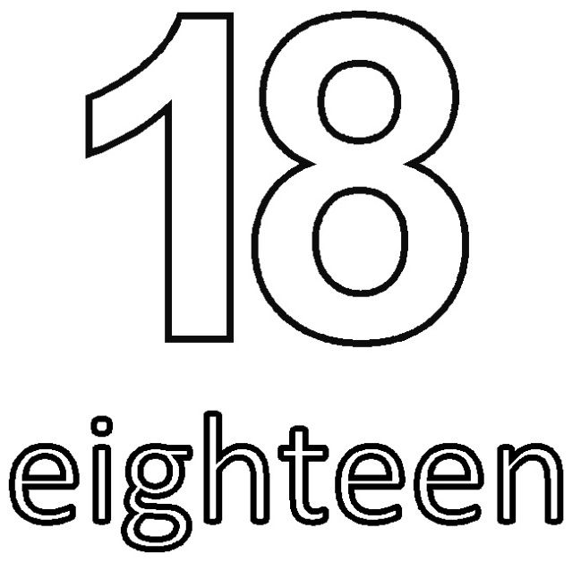 number eighteen 18 coloring sheets for kids