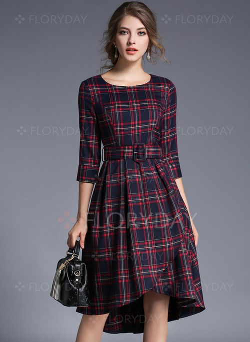5c6cd6cd6025 Dresses -  53.73 - Cotton Tartan Half Sleeve Knee-Length Casual Dresses  (1955121007)