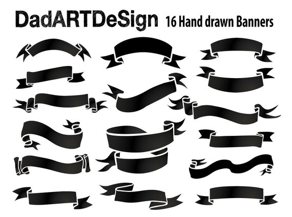 Simple Blank Ribbon Banners Hand Drawn 16 Png Hr Files Ready Etsy Ribbon Banner How To Draw Hands Banner Vector