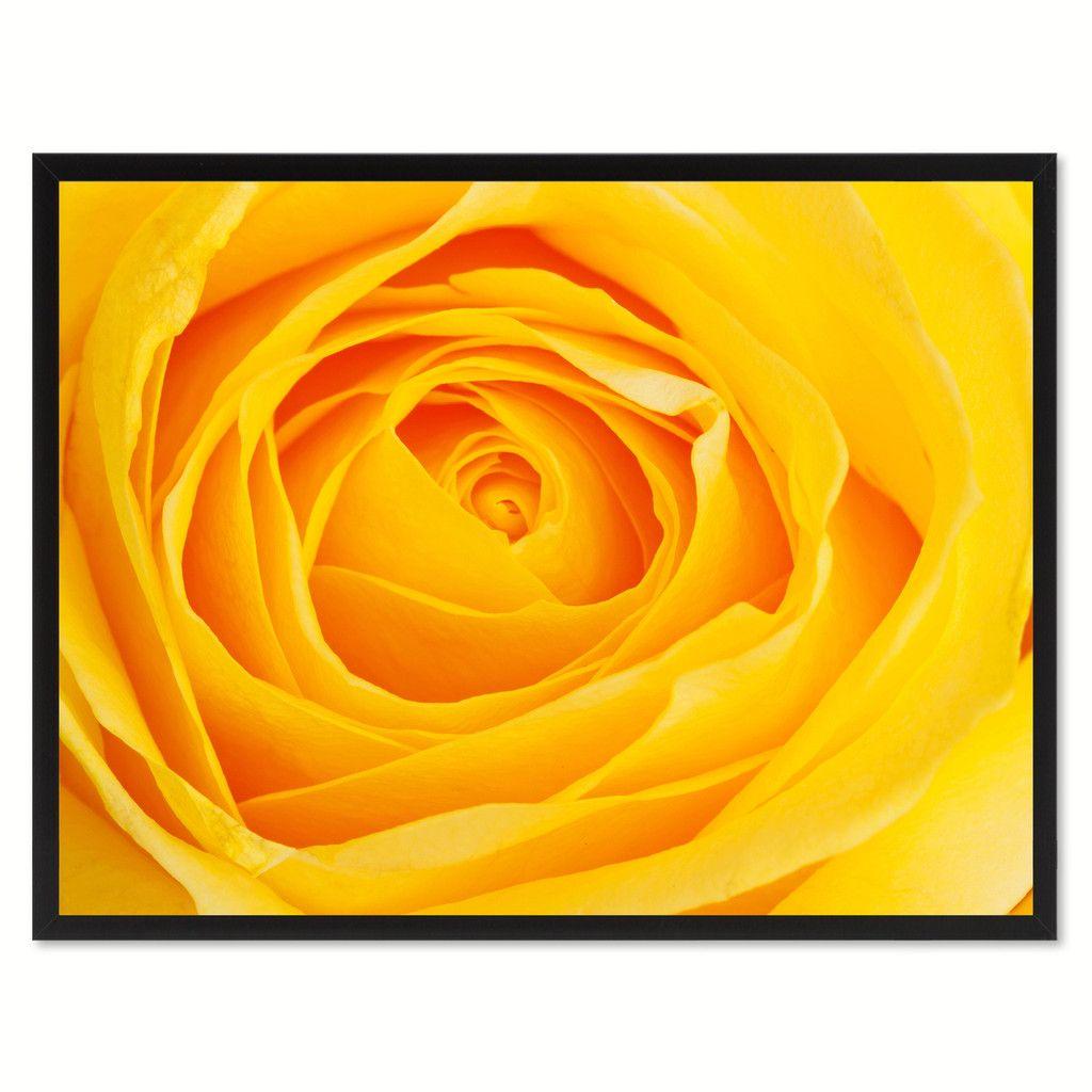 Yellow Rose Flower Framed Canvas Print Home Décor Wall Art   Framed ...