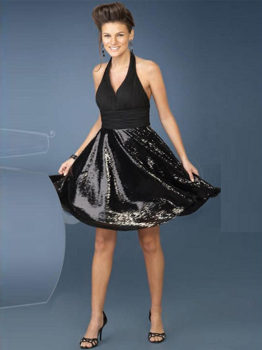 Unique aline satin black halter sleeveless short cocktail dress