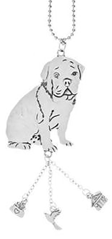 "Amazon.com: Cool & Custom {7"" Chain Hang} Single Unit of Rear View Mirror Hanging Ornament Decoration Made of Zinc Alloy w/ Domestic Pet Animals English Bull Dog w/ Charms Design [Ferrari Silver Colored]: Automotive"