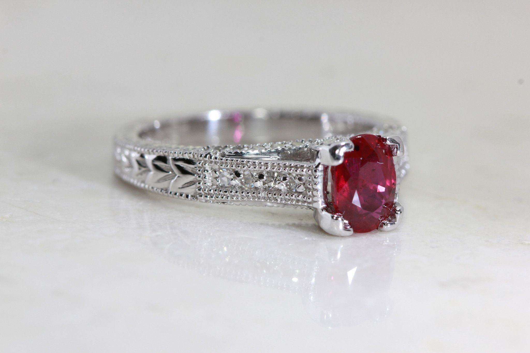 gold red dainty pin engagement solitaire ring natural ruby rings