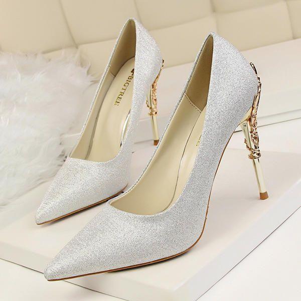 De mujer Satén Tacón stilettos Salón Cerrados con Tacones con joya zapatos ee9a7185371d