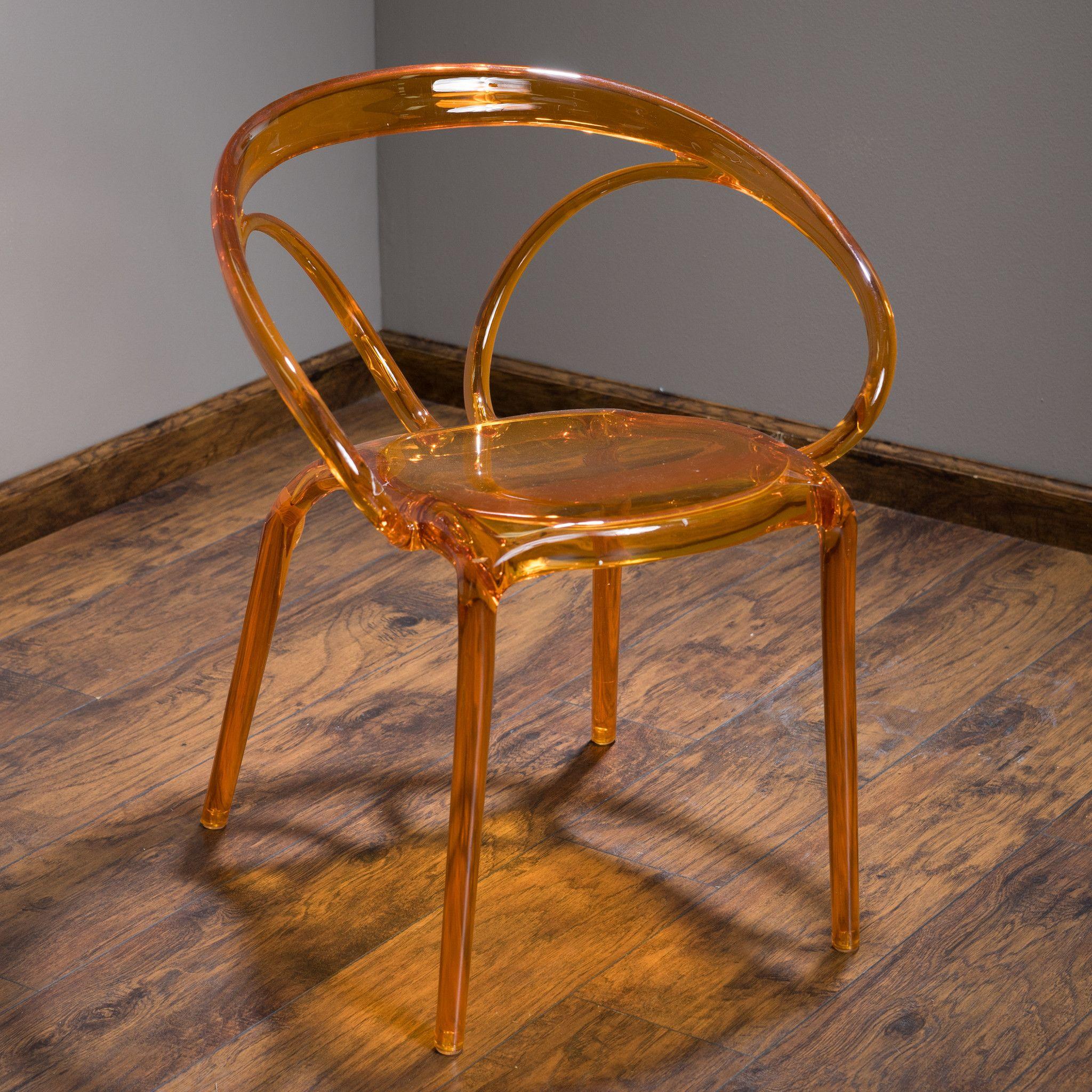 Bryson Transparent Orange PC Ghost Accent Chair