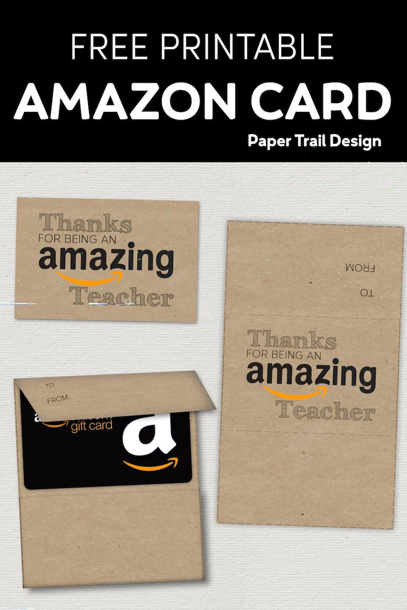 Free printable amazon teacher gift card holder paper