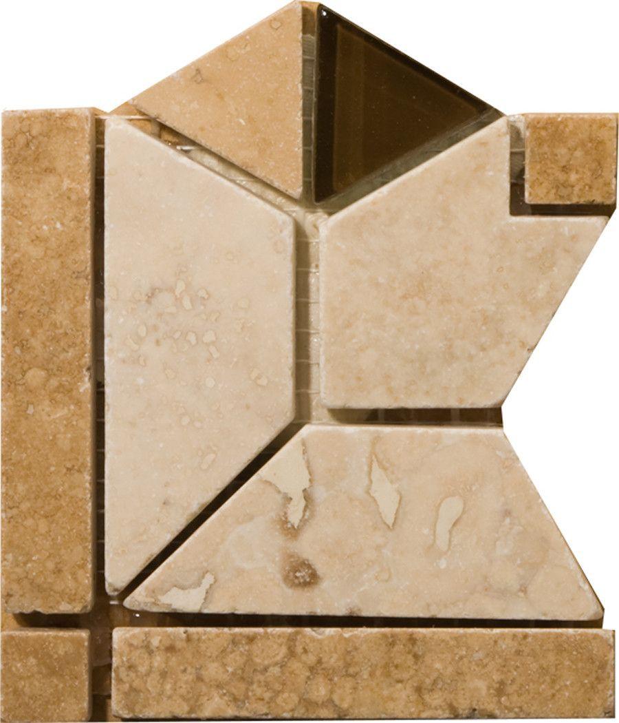 """Natural Stone 4"""" x 4"""" Mietres Travertine Listello Corner"""