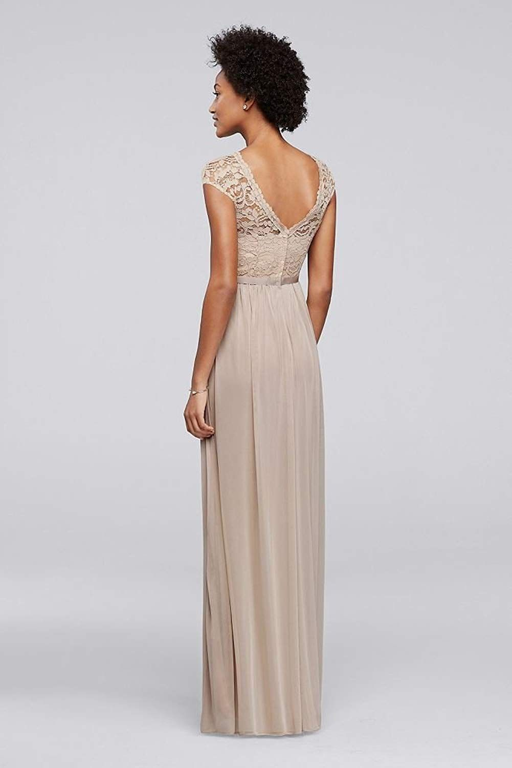 Davidus bridal long bridesmaid dress with lace bodice style f