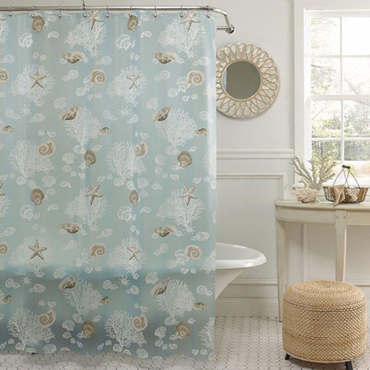 Boscov's Shower Curtains Seafoam Shells Peva Shower Curtain Boscov S Sea Foam Bathroom