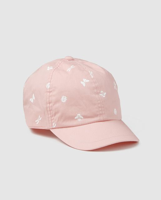 47a58fbe4e4 Gorra de bebé niña Brotes en rosa con estampado all over